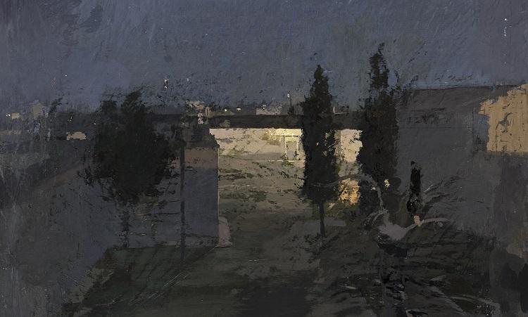 Antonio López García, Tomelloso, giardino di notte, 1980 olio su tavola, cm 99 x 82 Madrid, Fundación Obra Social y Monte de Piedad