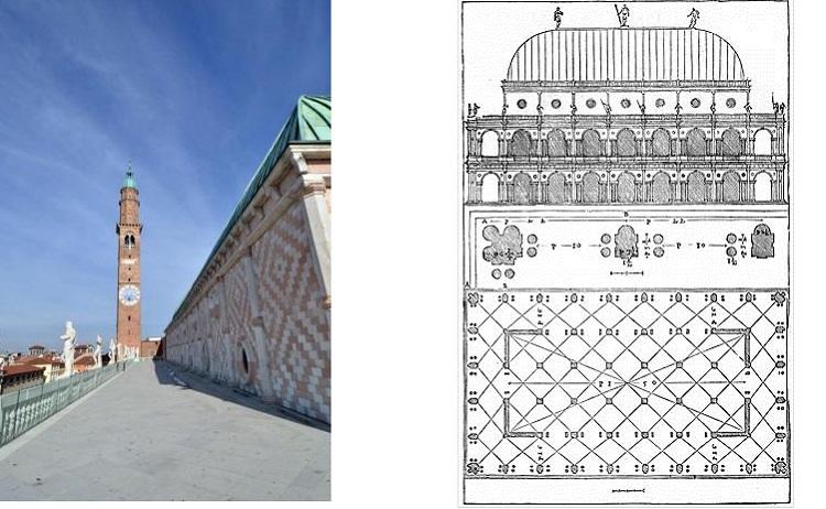 """La Basilica Palladiana oggi e come appare ne """"I quattro libri dell'architettura"""" di Palladio (1570)"""