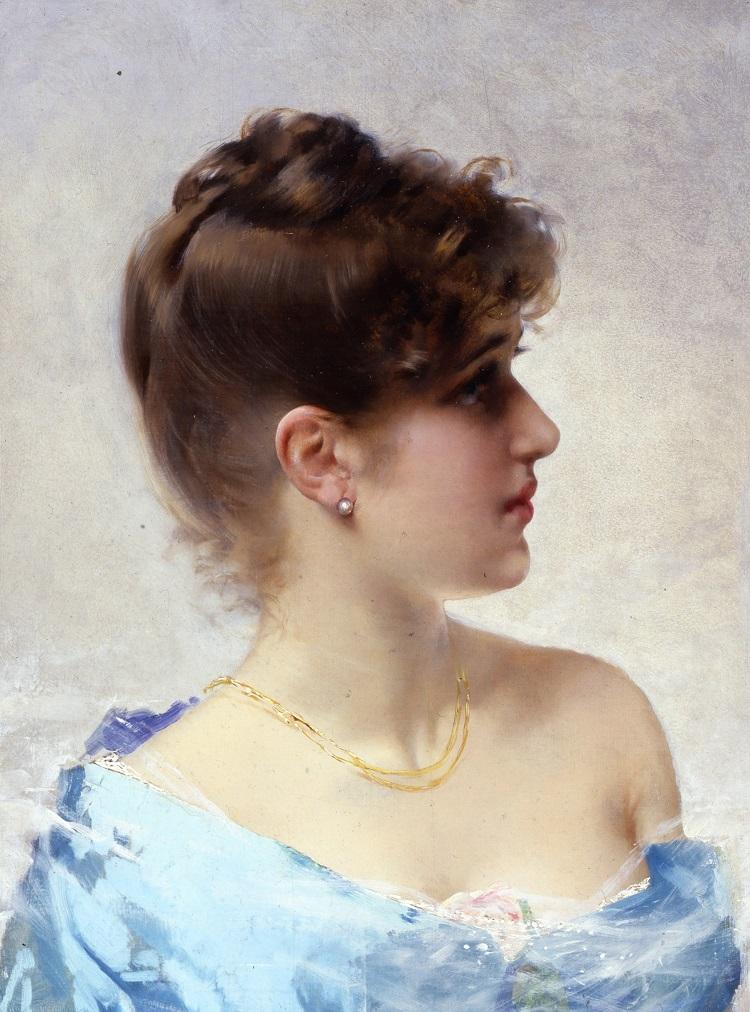 """Vittorio Corcos """"La ragazza dall'orecchino di perla"""" (1884), olio su tela, 60 x 38 cm firmato in basso a sinistra: «V. Corcos». Collezione privata"""