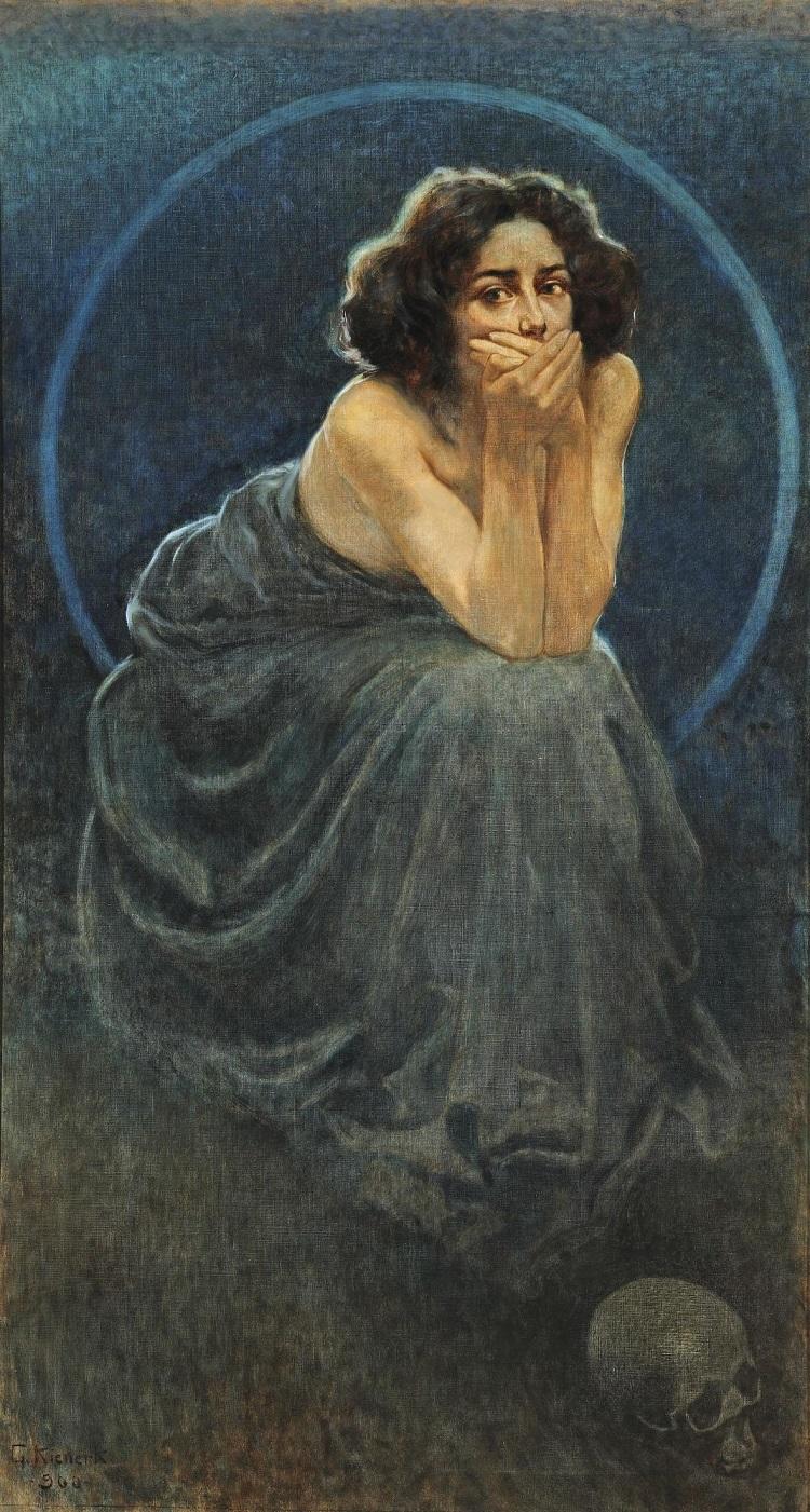 Giorgio Kienerk: L'enigma umano: il dolore, il silenzio, il piacere (part. del trittico) post 1900 olio su tela Pavia, Musei Civici