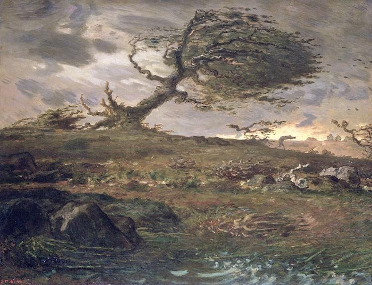 Jean-François Millet, Raffica di vento dopo il tramonto, 1871-1873 olio su tela, cm 90,5 x 117,5 Cardiff, Ar fenthyg gan/prestito dell'Amgueddfa Cymru-National Museum Wales