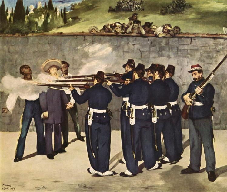 Esecuzione di Massimiliano I del Messico di Édouard Manet (1868). Städtische Kunsthalle, Mannheim.