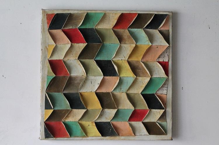 Marco Ferri, Avevamo gli occhi belli, 2012, tecnica mista su cartone, poliuretano e legno, cm. 65x65