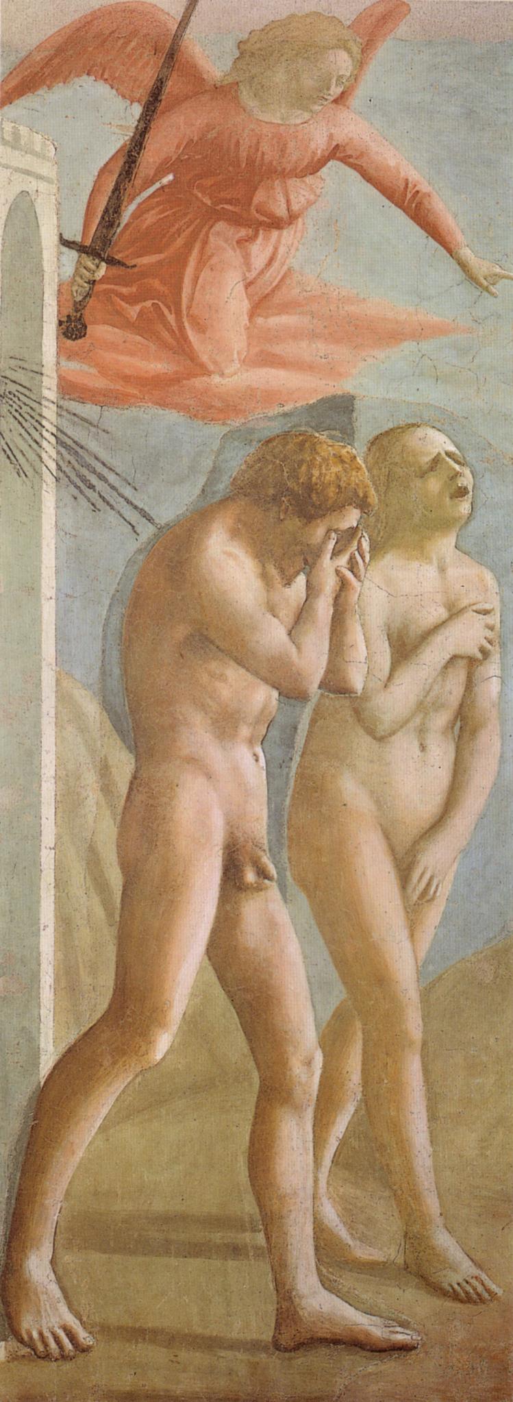 """Tommaso di Ser Giovanni di Mone Cassai called Masaccio (1401 – 1428) """"The Expulsion from the Garden of Eden/Cacciata dei Progenitori dall'Eden"""" (1424-1425), Fresco, 214 x 88 cm, Cappella Brancacci, Chiesa di Santa Maria del Carmine, Firenze."""