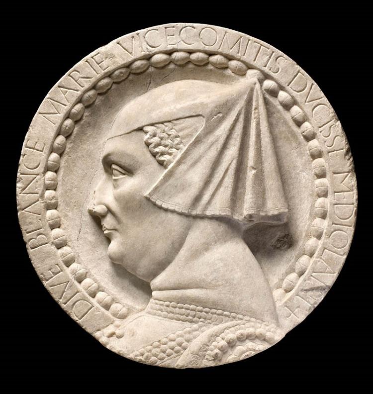 Scultore lombardo, Bianca Maria Visconti (1460-1480) marmo; 45x11,5 cm. Milano, Raccolte d'Arte Antica, Museo d'Arte Antica del Castello Sforzesco