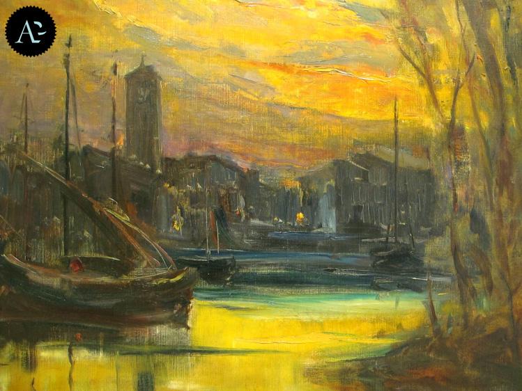 Barche sul fiume   Vittore Antonio Cargnel  Museo Bailo   Musei Treviso
