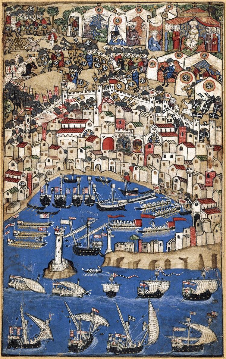 Ignoto miniatore del secolo XIV  Assedio di città  Ultimo quarto del XIV secolo  Miniatura, inchiostro e acquarelli su pergamena  Firenze, Museo Nazionale del Bargello