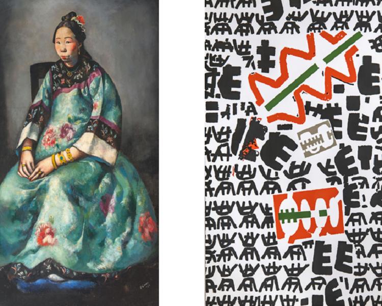 Primo Conti (Firenze 1900-Fiesole 1987) Ritratto di Lyung-Yuk 1924 / Giuseppe Capogrossi  (Roma 1900-1972) Senza titolo 1970