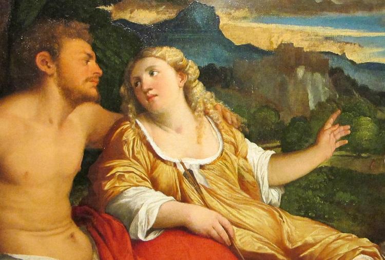 """Palma il Vecchio """" Marte, Venere e """"Cupido nella luce del tramonto"""", 1518-1520"""
