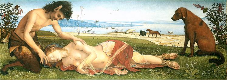 Piero di Cosimo (Firenze 1462 – 1522) Satiro che piange la morte di una ninfa 1495-1500 circa Tavola Londra, National Gallery