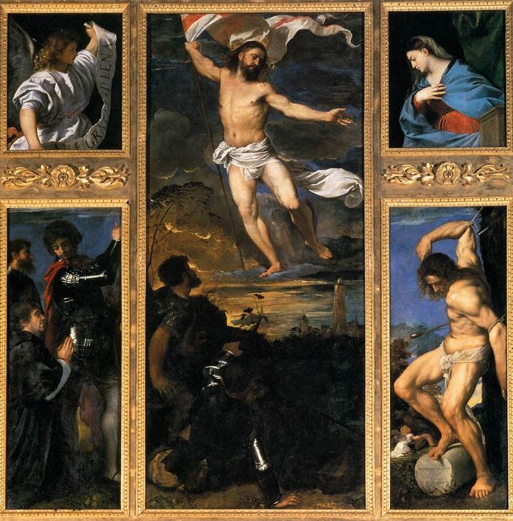 Polittico Averoldi. Tiziano Vecellio , olio si Tavola. Collegiata dei Santi Nazaro e Celso, Brescia (1520-1522)