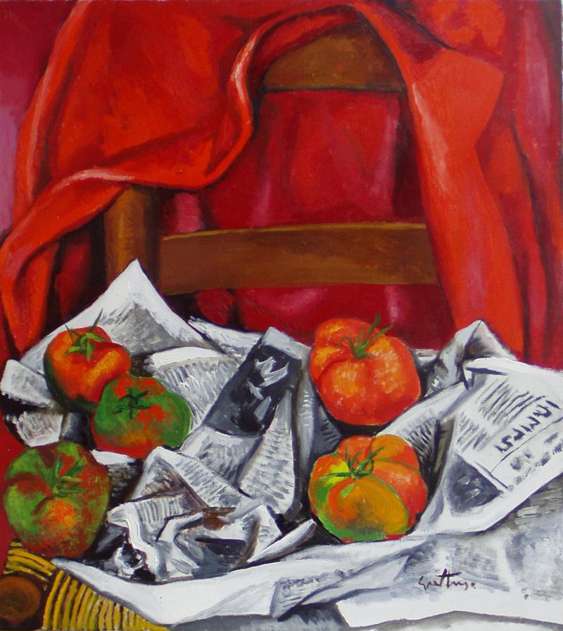 Renato Guttuso, La giubba rossa, 1985, olio su tela, cm. 70x62