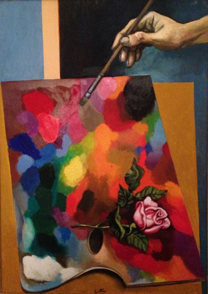 Renato Guttuso, La mano e la rosa, 1972, olio su tela, cm. 70x50