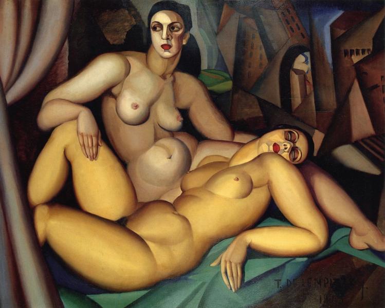 Tamara de Lempicka (1898 – 1980) «Perspective/Le due amiche» (1923) oil on canvas, 130 x 160 cm, Musée du Petit Palais, Genève