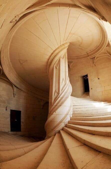 The Leonardo da Vinci Staircase in La Rochefoucauld, France
