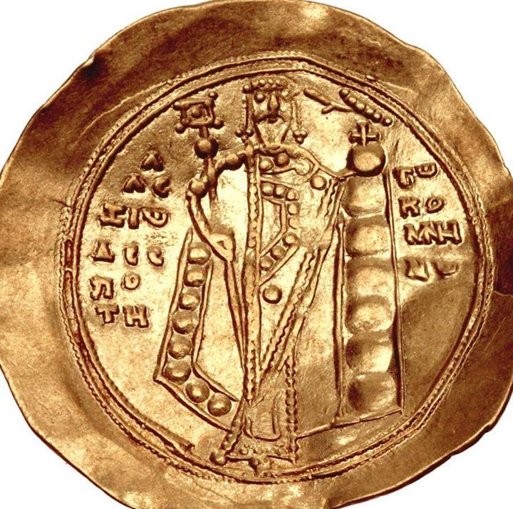 """Zecca di Costantinopoli """"Hyperperon with the effigy of Alexius I Comnenus/Hyperperon con l'effige di Alessio I Comneno"""" (1081 – 1118) golden coin"""