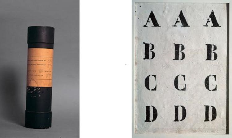 Tubo cartone 1959 / Alfabeto inchiostro e caolino su tela 1958