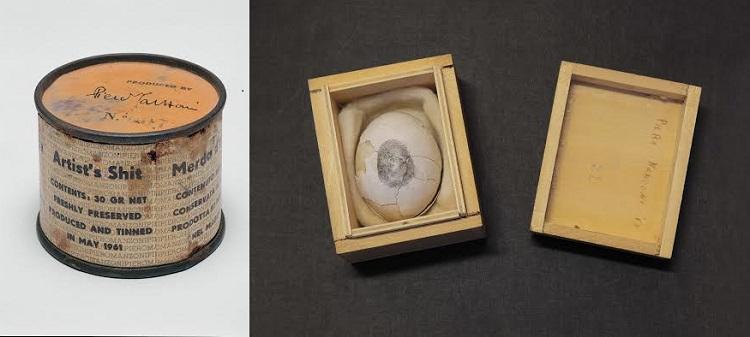 Merda d'artista n.07 scatoletta latta, carta stampata 1961 / Uovo scultura n. 21 1960
