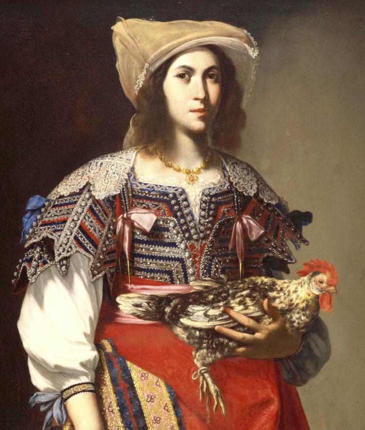 Massimo Stanzione, Portrait de femme au coq en costume napolitain, vers 1635, huile sur toile, 118,7 x 97 cm, San Francisco, Fine Arts Museums, Photo © Image courtesy the Fine Arts Museums of San Francisco