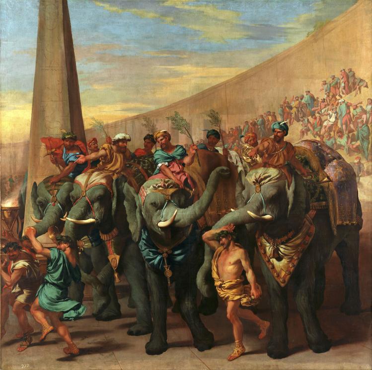 Andrea di Lione, Eléphants dans un cirque, vers 1640, huile sur toile, 229 x 231 cm, Madrid, Museo Nacional del Prado, Photo © Dist. RMN-Grand Palais/ image du Prado