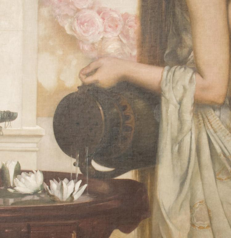 Anton Josef Ritter von Kenner. Fanculla presso una vasca con Ninfee, 1893 (dettaglio)